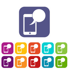 speech bubble on phone icons set vector image vector image