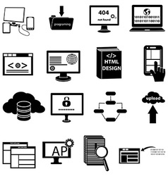 Web design programming icons set vector image