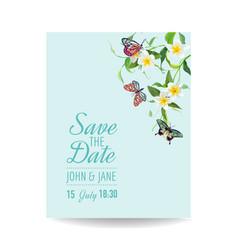wedding invitation template tropical design vector image vector image
