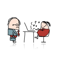Angry boss and secretary cartoon for your design vector image