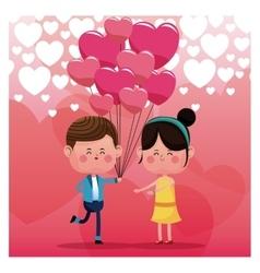 couple loving pink balloons rain heart background vector image