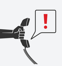 hand with telephone handset with chat bubble vector image