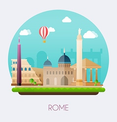 Rome Skyline and landscape of buildings and famous vector image