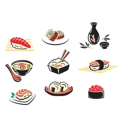 Set of Japanese seafood icons vector image