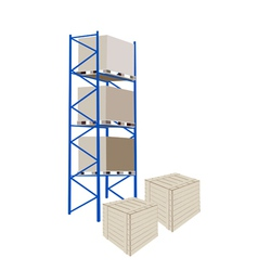 Shelves Manufacturing Storage With Crates vector image