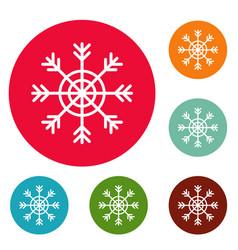 snowflake icons circle set vector image
