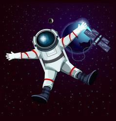spaceman or cosmonaut astronaut in space vector image vector image