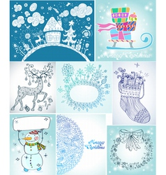 Christmas card big set vector image vector image