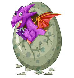 dragon comes out of egg vector image vector image