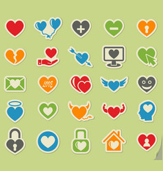 heart love icon set vector image