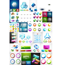 mega collection of glass web banner plates boxes vector image vector image