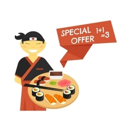 Sushi chef with special offer banner vector image