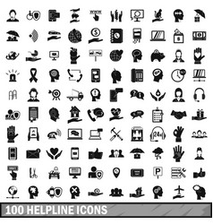 100 helpline icons set simple style vector