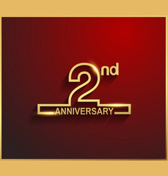 2 anniversary line style golden color vector