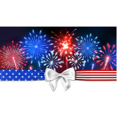 4th july background with firework and a bow vector image