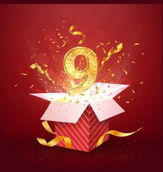 9 th year number anniversary and open gift box vector