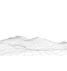 Abstract 3d wire-frame landscape blueprint style vector