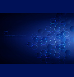 Abstract blue hexagons with nodes digital vector