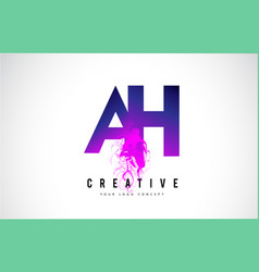 Ah a h purple letter logo design with liquid vector