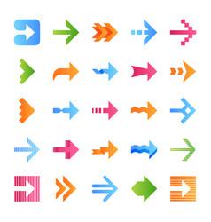 Arrow types flat design long shadow color icons vector