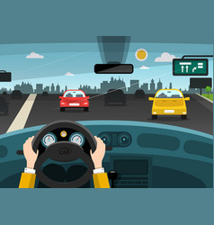 Automobiles on street - highway with city on vector