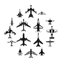 aviation set icons vector image