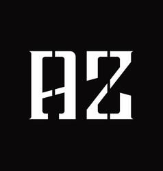 Az logo monogram with middle slice design template vector