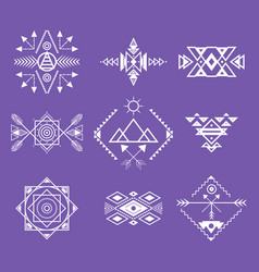 aztec style ornament white thin line icon set vector image
