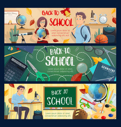 back to school teacher and pupil study banners vector image