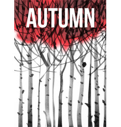 background with stylized image autumn trees vector image