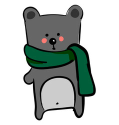 bear with green scarf on white background vector image