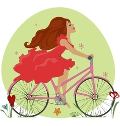 Beautiful young girl rides a Bicycle vector