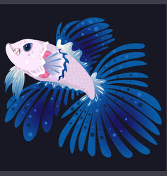 betta fighting fish flat cartoon vector image