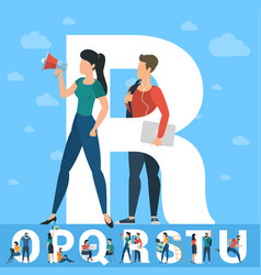 big r letter white letter with young people vector image