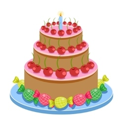Birthday cake with candles and candies isolated on vector