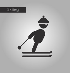 Black and white style icon skier vector