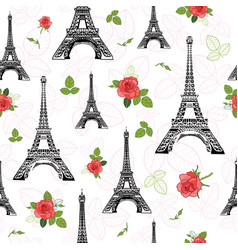 Black red eifel tower paris and roses vector