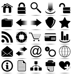 Black Web Icons vector image