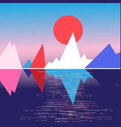 bright mountain landscape and sun vector image