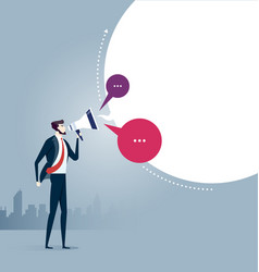 Businessman shouting with megaphone vector