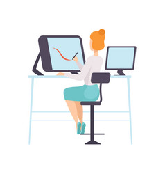businesswoman working with computer office vector image