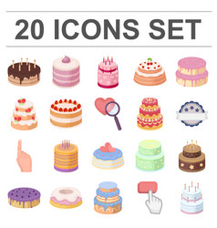 cake and dessert cartoon icons in set collection vector image