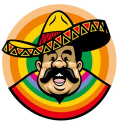 Cartoon of smiling mexican man with sombrero vector
