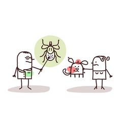 cartoon veterinarian with wife and dog ticks vector image