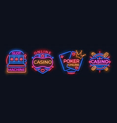 casino neon signs slot machine jackpot banners vector image