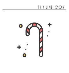 christmas candy cane thin line icon new year vector image