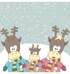 Christmas card with reindeer vector image