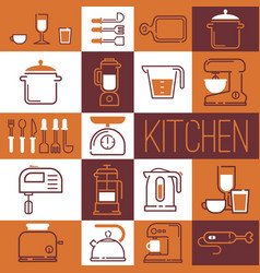 collage kitchen supplies icons and stickers vector image