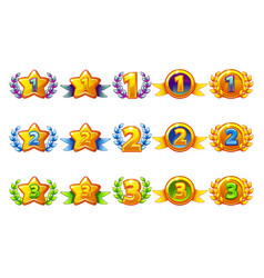 Coloured rewards icons set 1st 2nd 3rd place vector