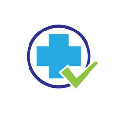 cross medicine check health logo designs vector image